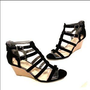 JESSICA SIMPSON Gladiator Wedges Black Size 7